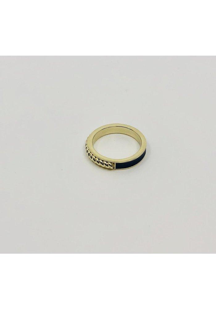 Blue enamel band in 14k gold