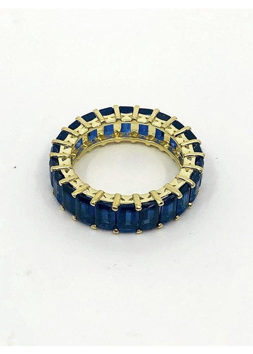 Raymond Mazza 14k Gold Eternity Ring with Kayanite Stones in size 7