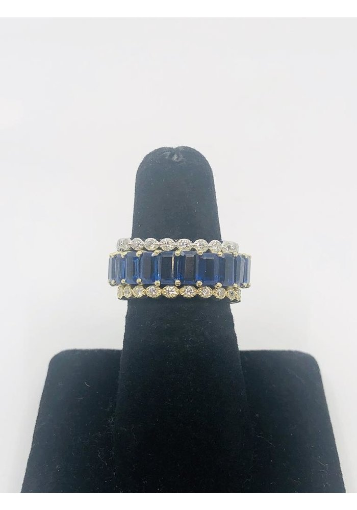 14k Gold Eternity Ring with Kayanite Stones in size 7