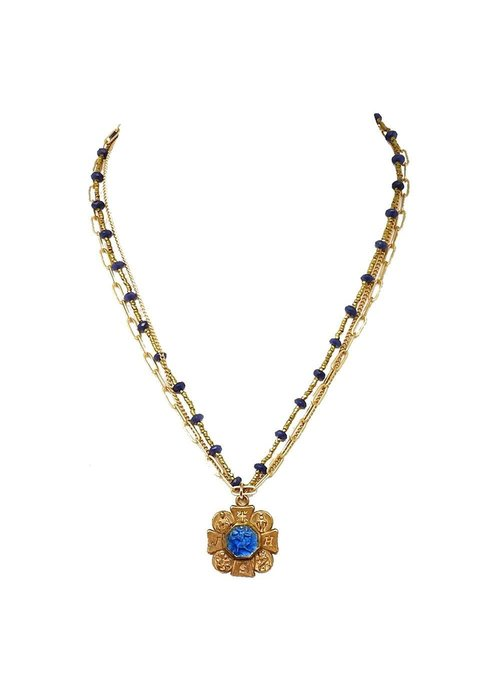 "Andrea Barnett Four way 16"" JHS cross with vintage blue medal on lapis and heishi pearl chain and bronze chains."