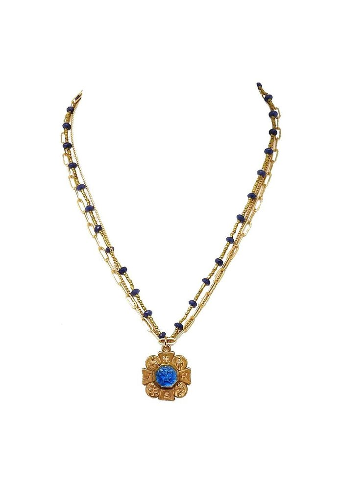 "Four way 16"" JHS cross with vintage blue medal on lapis and heishi pearl chain and bronze chains."