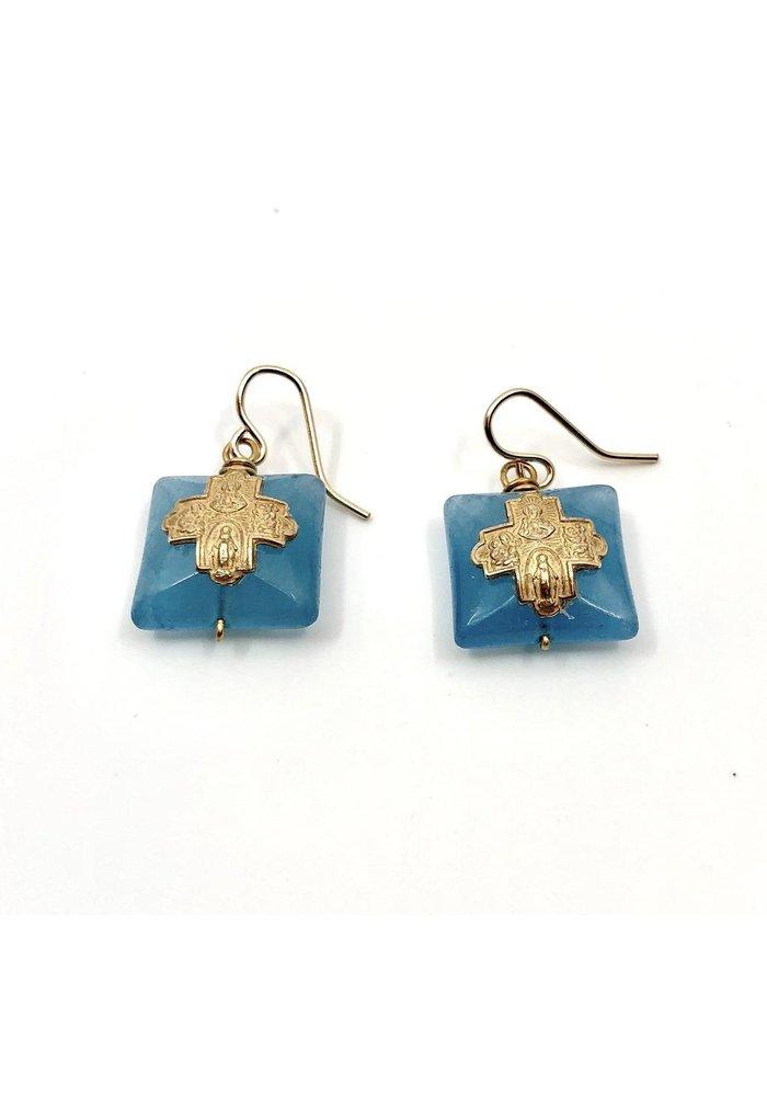 Tiny Bronze 4-way cross and blue quartz earrings