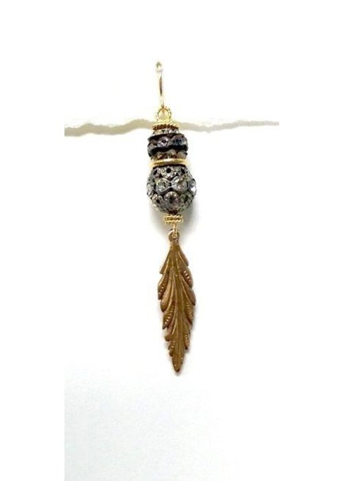 Andrea Barnett Bronze feather with leaf earring using 2 aged rhinestones