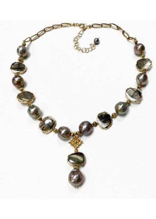 Andrea Barnett Labradorite slices with silver ming pearls