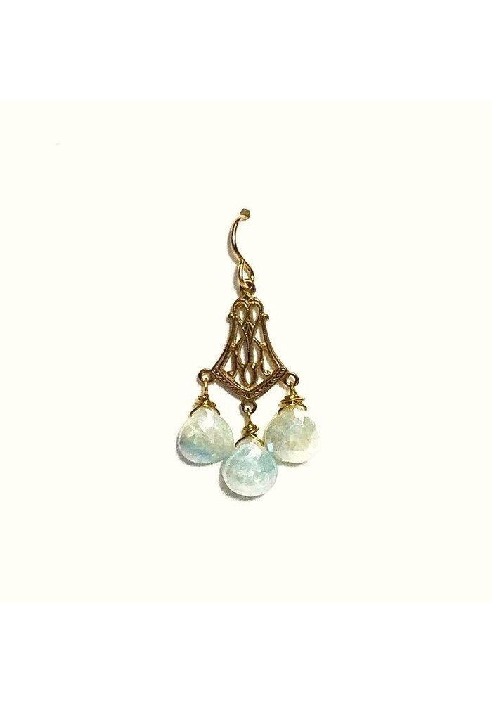 Earrings with bronze watch FOB and sapphire dangles