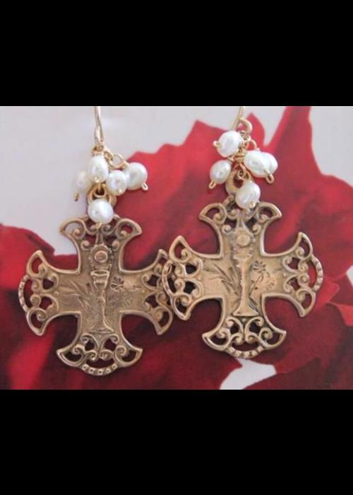 Andrea Barnett Bronze Communion medal on wire earring