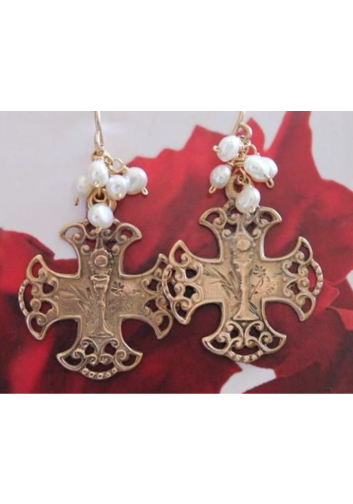 Bronze Communion medal on wire earring