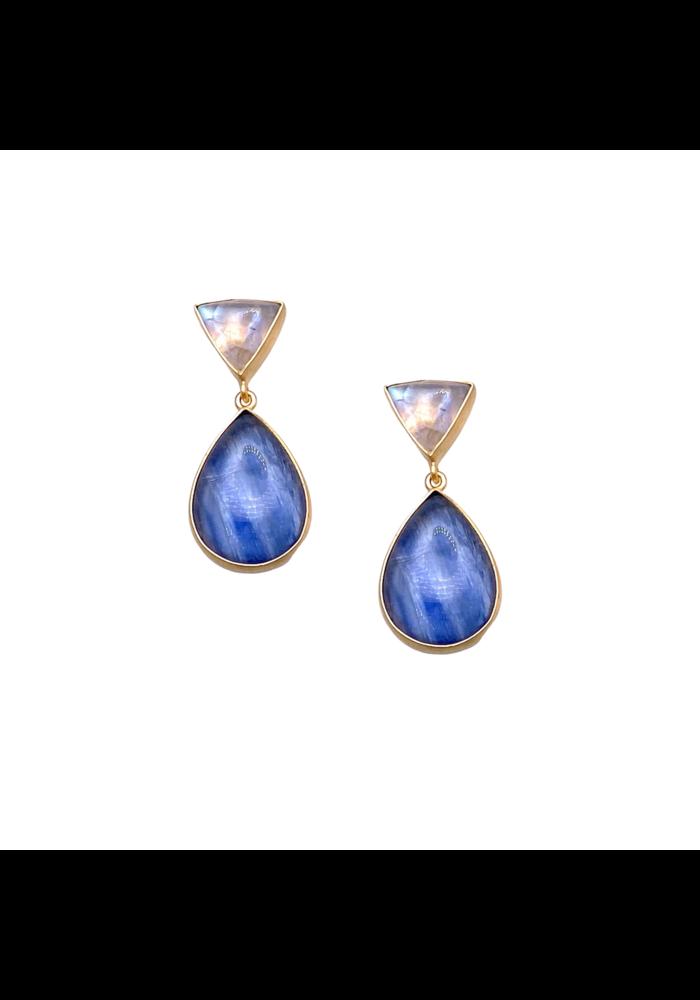 Moonstone plus kyanite earrings