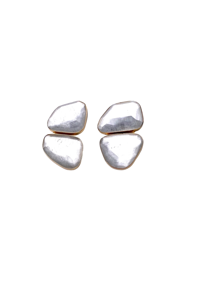 Free form quartz clip earrings