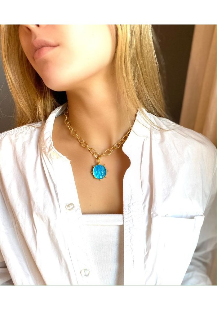 Apollo pinwheel pendant sea blue