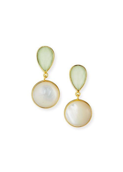 Dina Mackney Lemon chrysoprase and MOP earrings