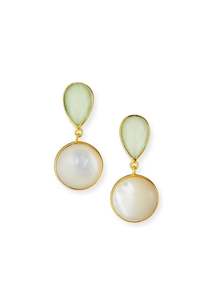 Lemon chrysoprase and MOP earrings