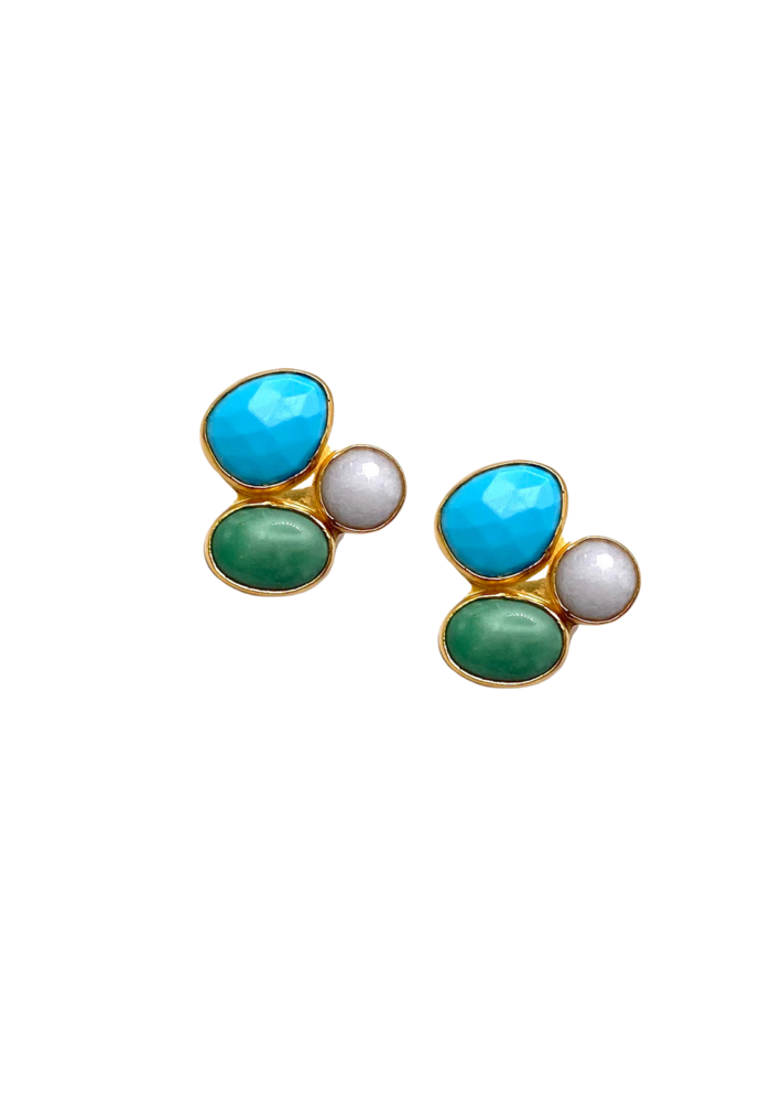 Cluster clip earring blue and green