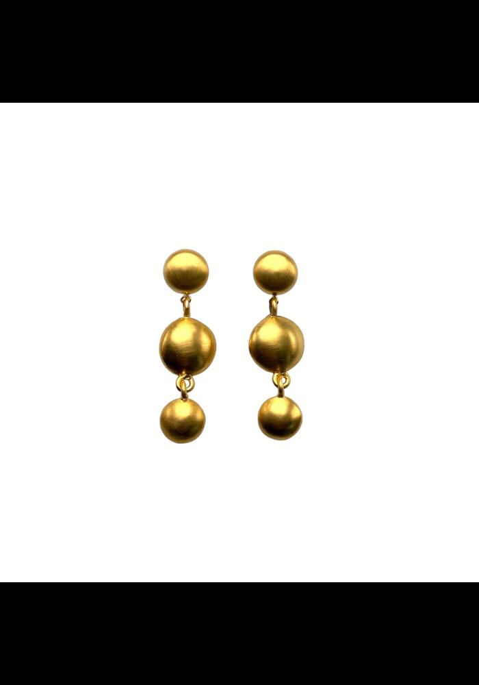 Triple gold post earrings