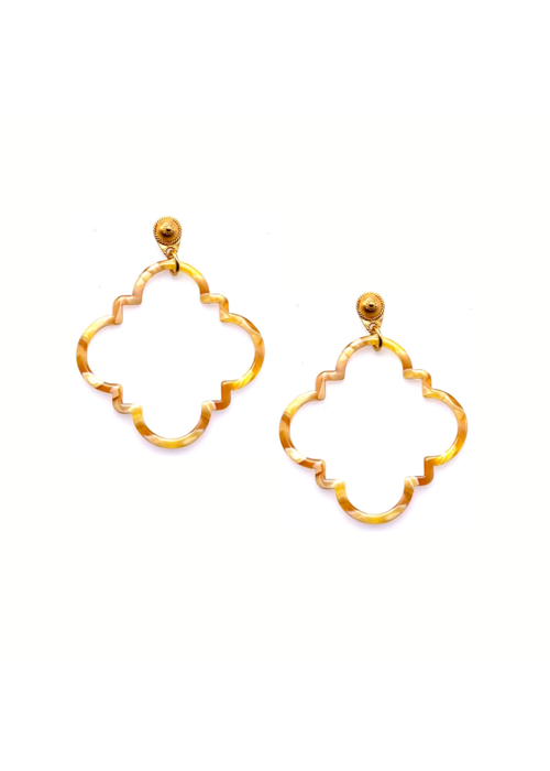 Dina Mackney Tortoise shell quatrefoil earrings