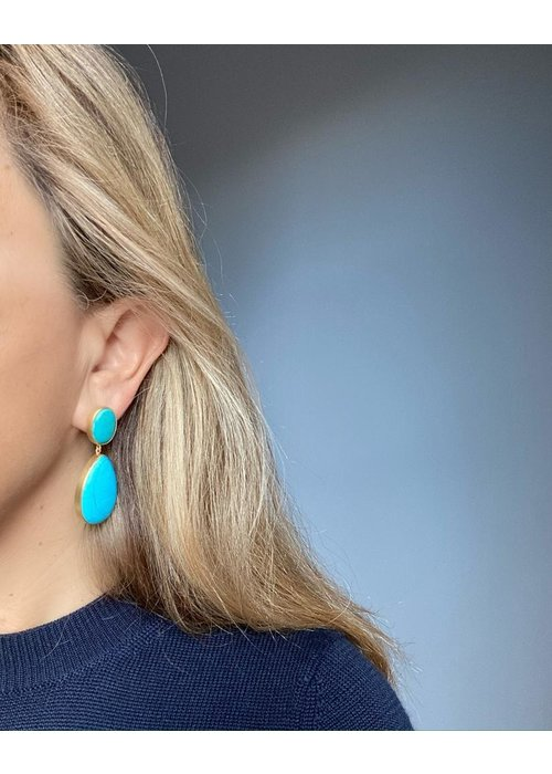 Dina Mackney Green and blue turquoise drop earrings