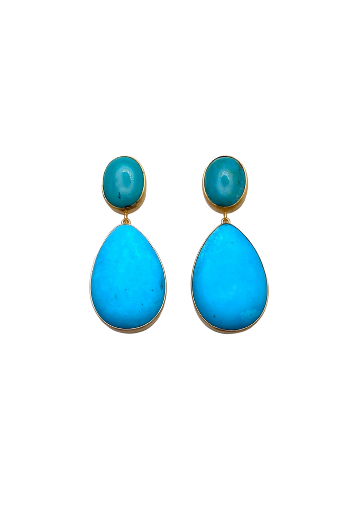 Green and blue turquoise drop earrings