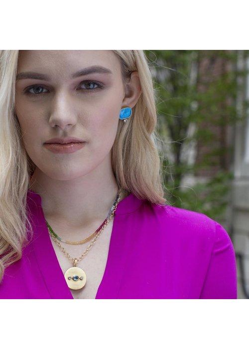 Dina Mackney Italian glass and topax cherub earrings, sea blue