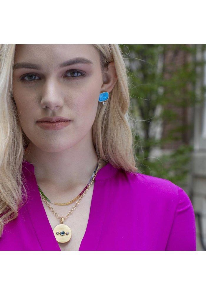 Italian glass and topax cherub earrings, sea blue