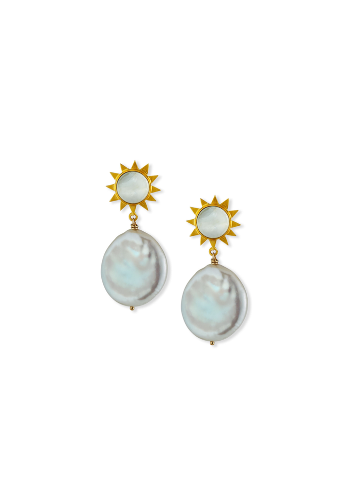 Mother of pearl and coil pearl starbust earrings