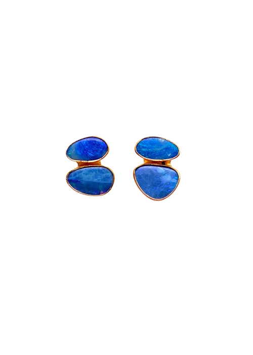 Dina Mackney Mini double stud opal earrings