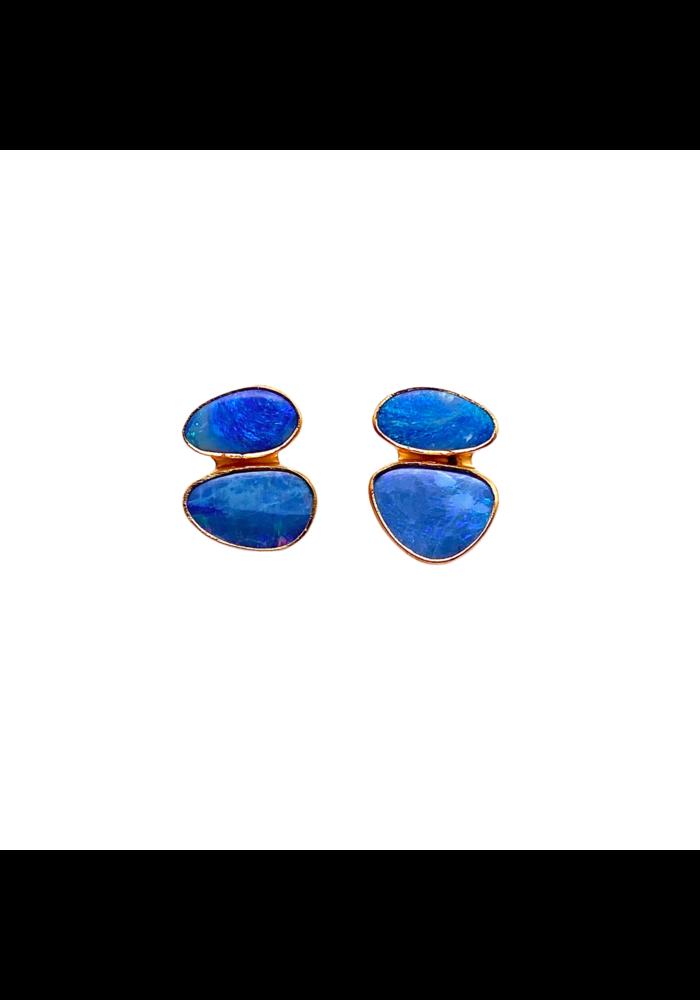 Mini double stud opal earrings