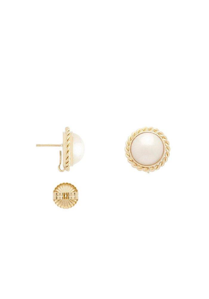 18K large pearl earrings