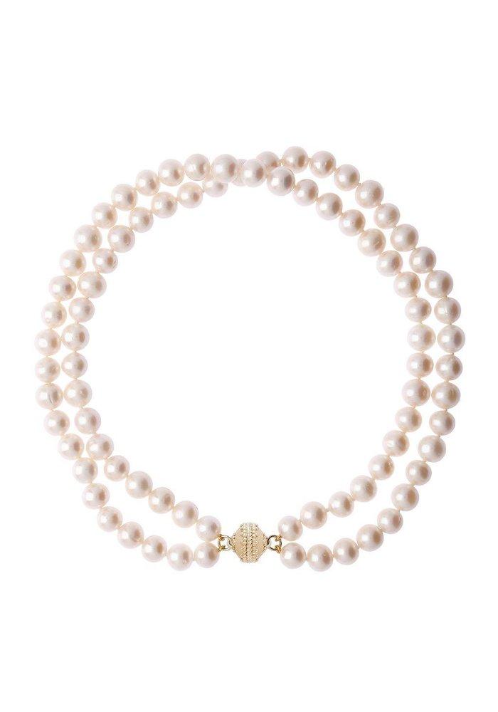 """Clara Williams Company Freshwater White Potato Pearl Necklace, Double Strand, 16.5""""L"""