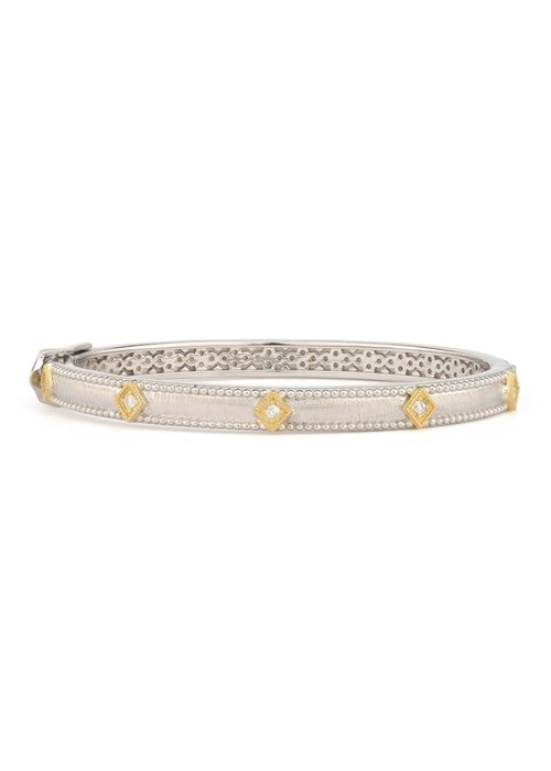 Jude Frances Mixed Metal Lisse Simple Kite Shape Bangle /Gold Accents