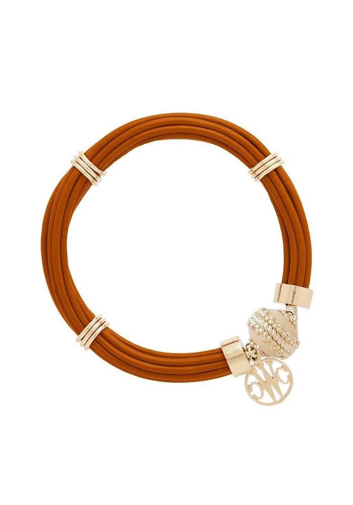 Clara Williams Aspen Leather Bracelet Camel Brown