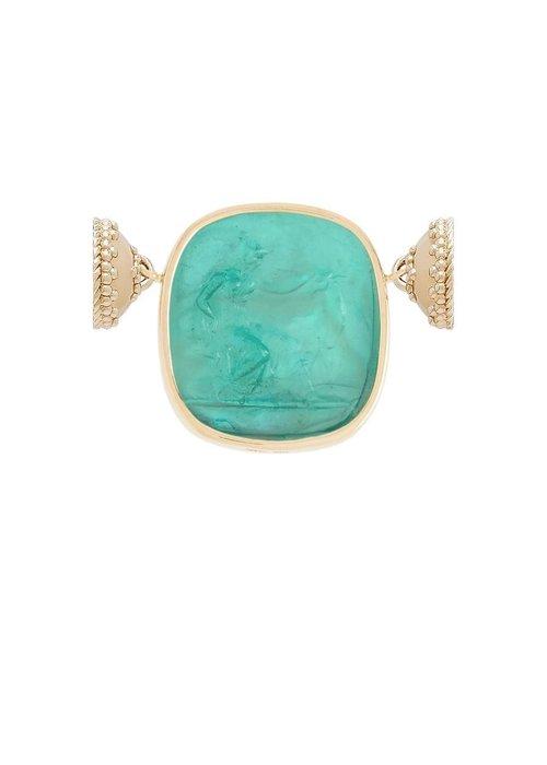 Clara Williams Classic Diana Paraiba Italian Glass Centerpiece with Mother of Pearl