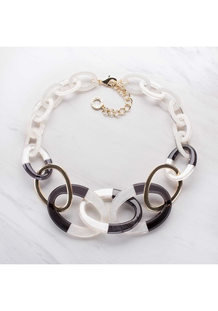 Crissey Necklace White and Black Resin Link Necklace
