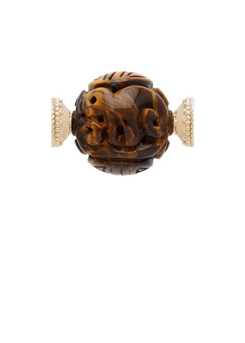 Clara Williams Tiger's Eye Chinese Carved 27mm Centerpiece
