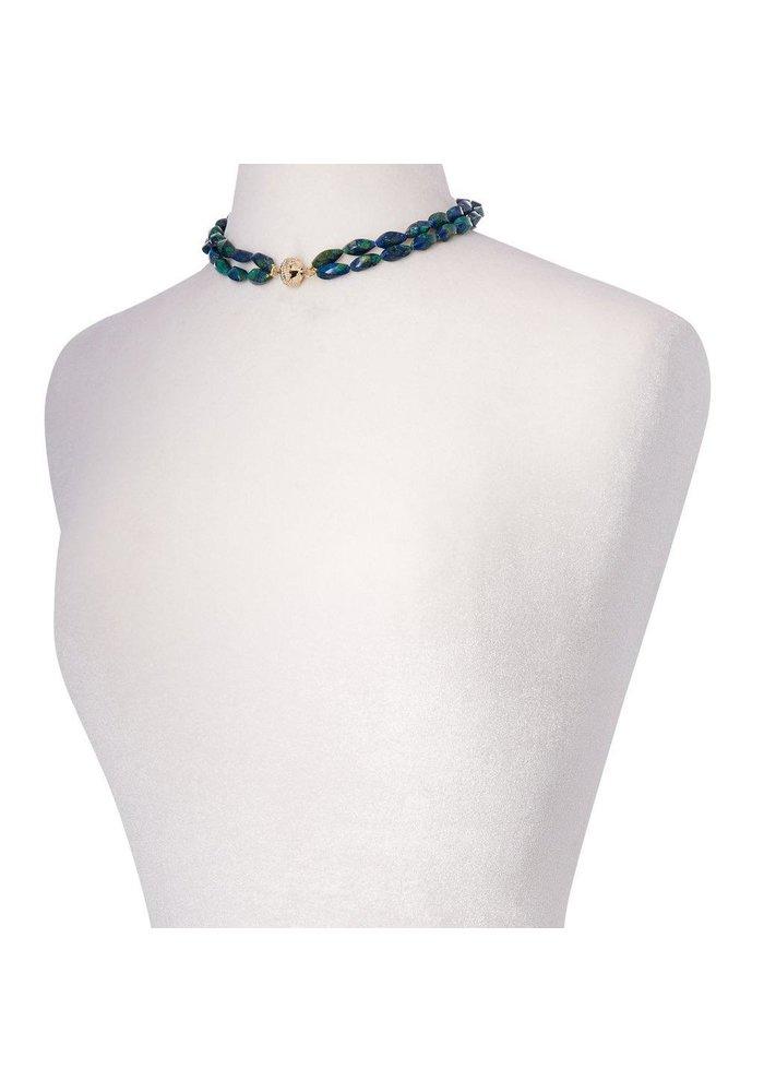 Clara Williams Azurite Malachite Double Strand Necklace