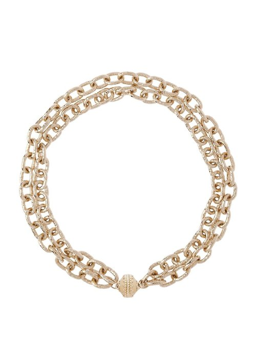 Clara Williams Clara Williams Wabash 14k Gold Plated Necklace, 2 Strands, 16.5L