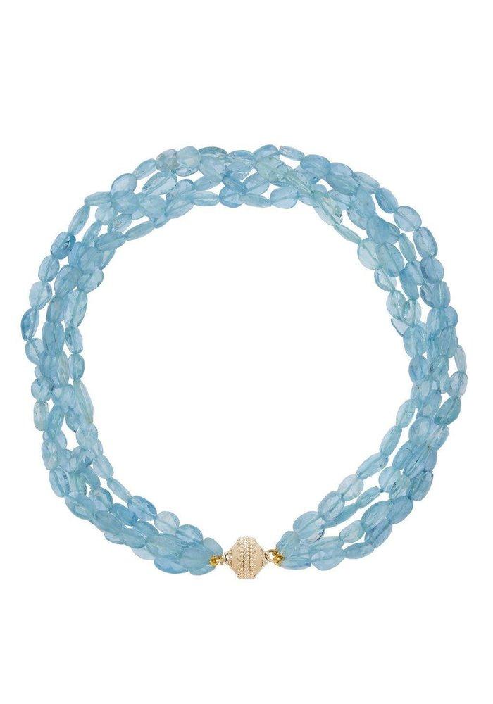 Clara Williams LTD Nancy Aqua Marine Faceted 4 Strand Necklace