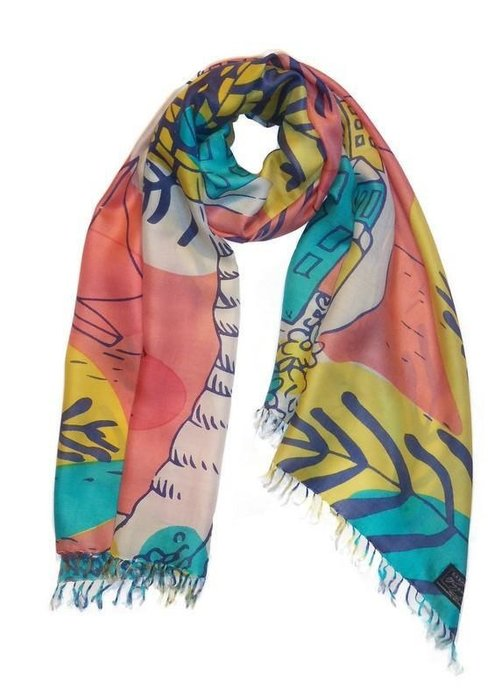 "Cashmere Wrappings Cashmere Wrappings ""Maisons de la Mer"" 100% Silk Scarf"