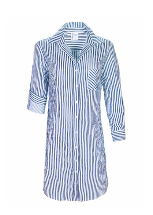 Finley Shirts Alex Shirtdress in Textured Fabric with Stripe