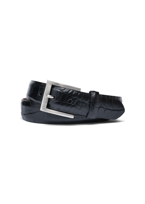 "Kleinberg 1 3/8"" Italian embossed croc belt, Black"