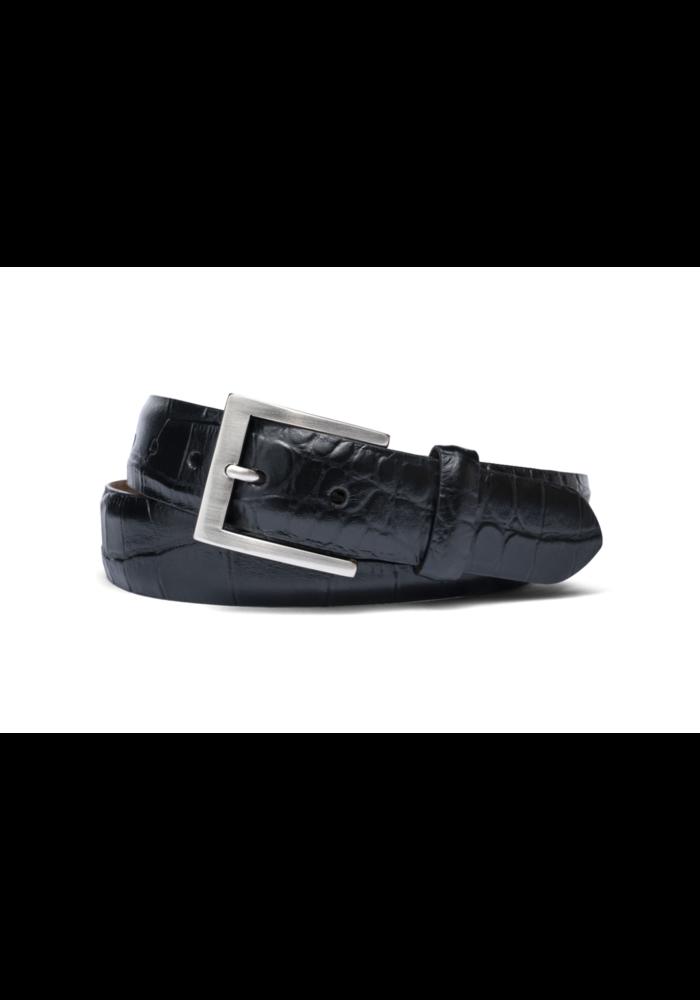 "1 3/8"" Italian embossed croc belt, Black"