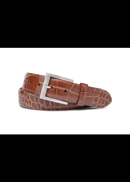 "Kleinberg 1 3/8"" Italian embossed croc belt, Cognac"