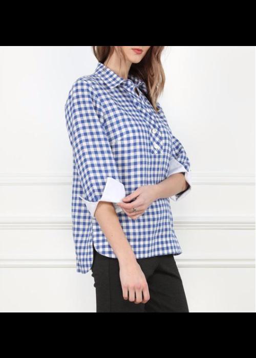 Hinson Wu Indigo/White Check blouse