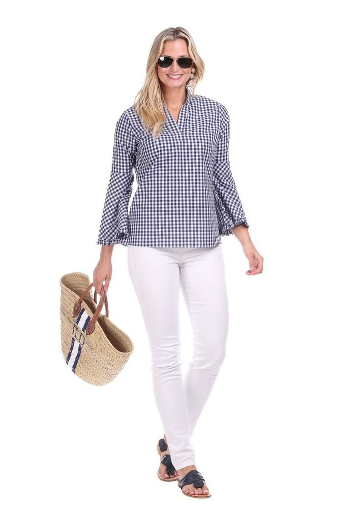 Duffield Lane Onekama Bell Sleeve Top in Gingham