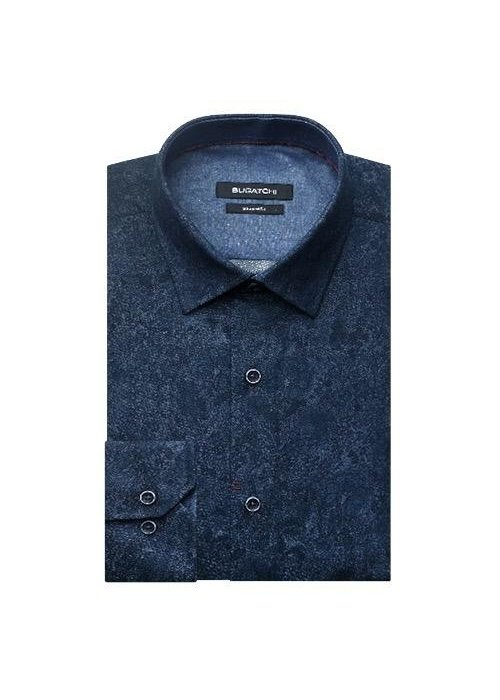 Bugatchi Point Collar Sports Shirt with French Placket