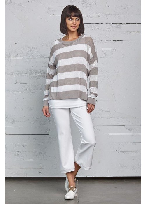 PLANET by Lauren G Planet Striped Seed Stitch Top