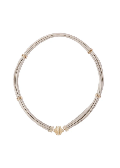 """Clara Williams ASPEN LEATHER WHITE PEARL NECKLACE 18"""" Length"""