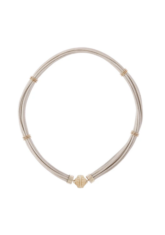 """ASPEN LEATHER WHITE PEARL NECKLACE 18"""" Length"""