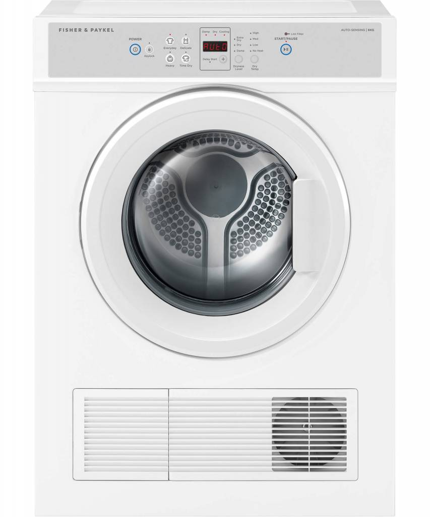 Factory Second Fisher and Paykel Vented Dryers 6KG Vented Dryer, 1400 RPM, 4 Wash Programs, 2 Star Energy, Auto Sensi DE6060M1