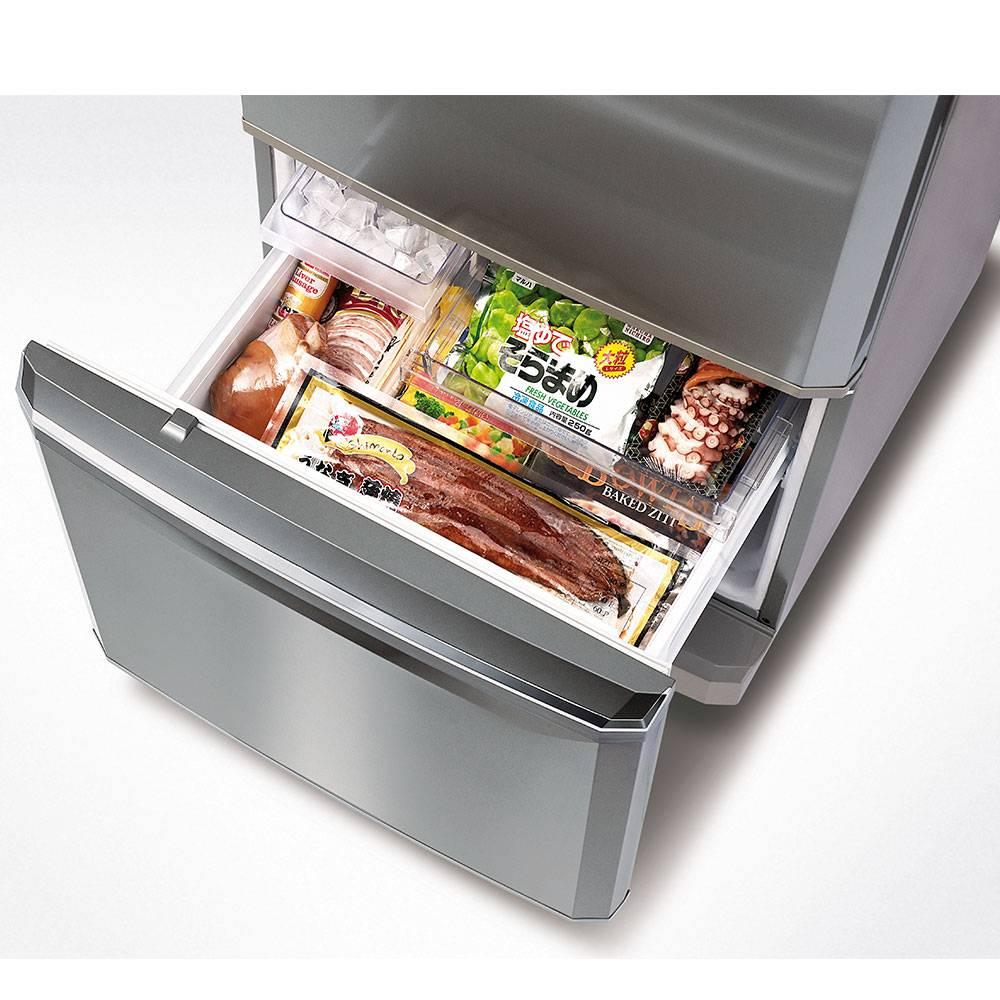 Mitsubishi Bottom Mount Fridge 325Litres White Bottom Freezer 2D Inverter
