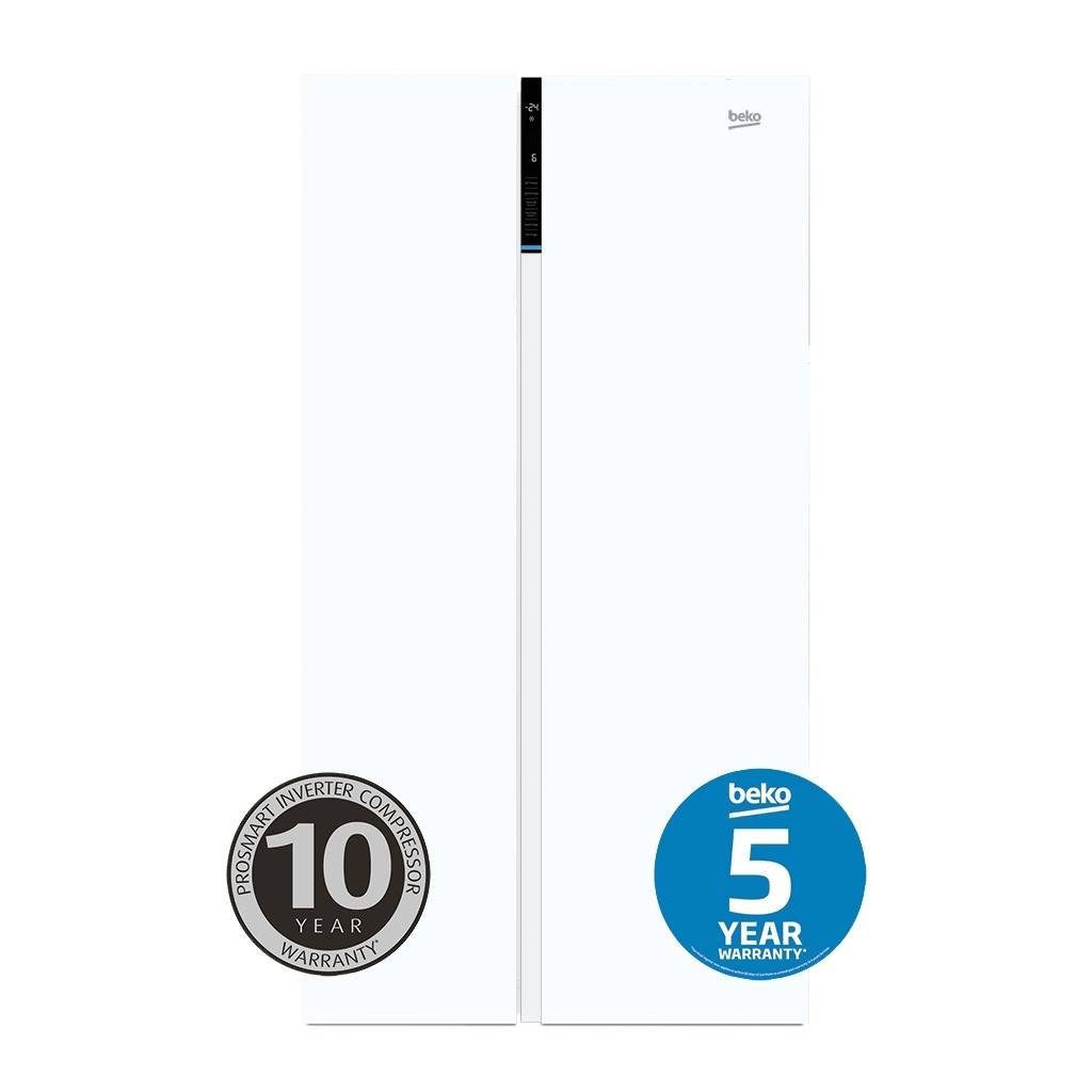 Beko Side by Side Fridges 641 Litre White with Flush Handle BSB641W